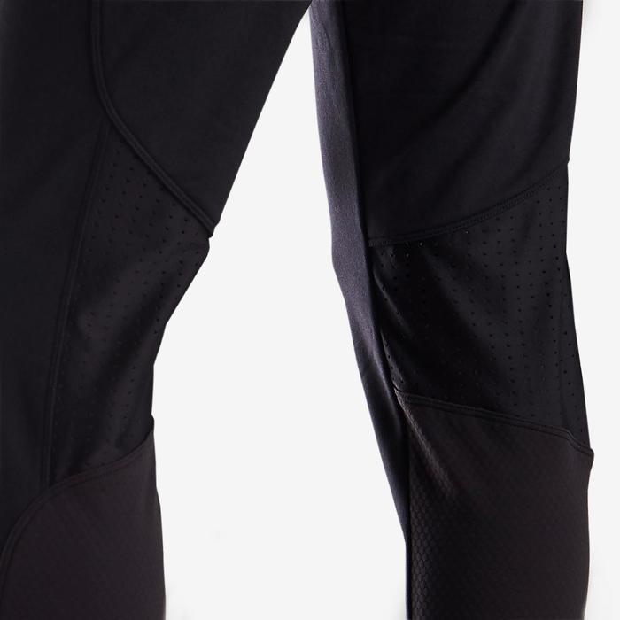 Pantalon chaud slim respirant S900 fille GYM ENFANT noir, ceinture rouge
