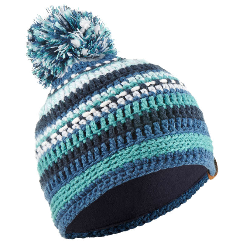 JUNIOR SKI AND SNOWBOARD HEADWEAR Skiing - JR MIXYARN HAT NAVY GREEN WEDZE - Ski Wear