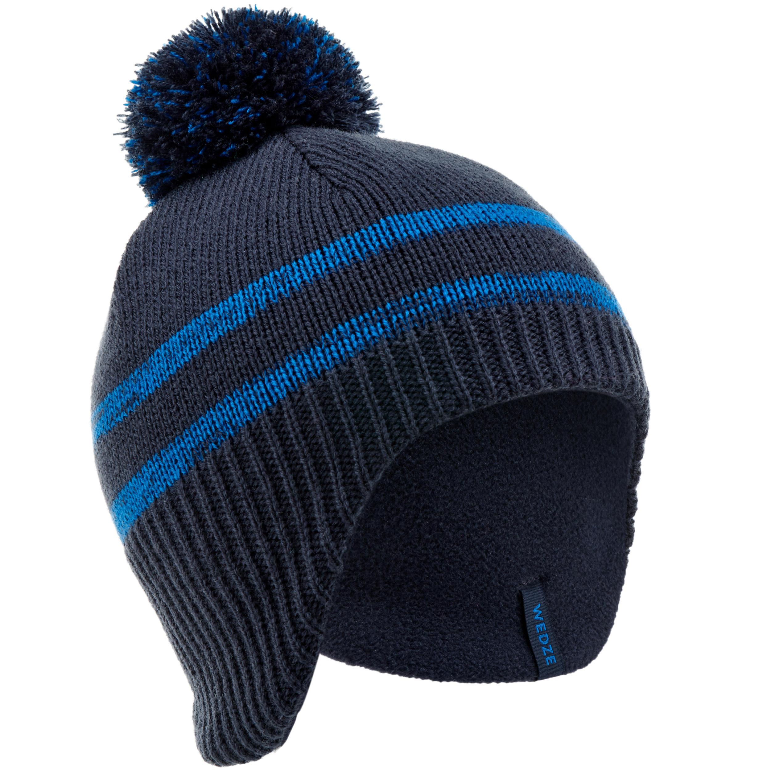 Enfants chapeau d/'hiver Thinsulate Chaud Bonnet Pompon Tricot Bicolore Bleu Gris