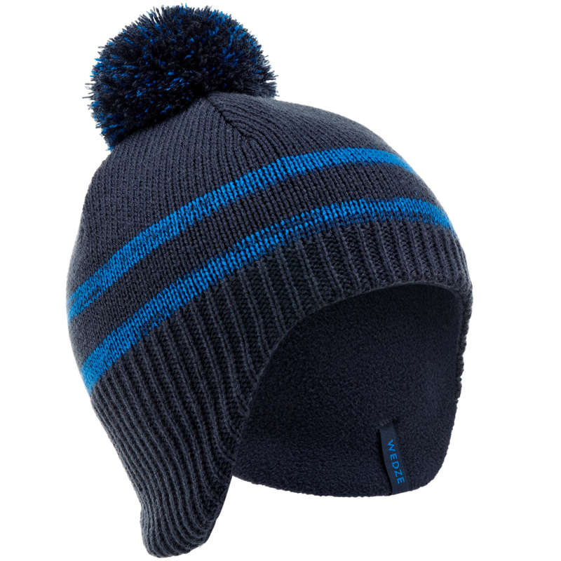 JUNIOR SKI AND SNOWBOARD HEADWEAR Skiing - KID FLAP HAT NAVY BLUE WEDZE - Ski Wear