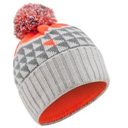 BONNET DE SKI ENFANT GRAND NORD GRIS ORANGE FLUO