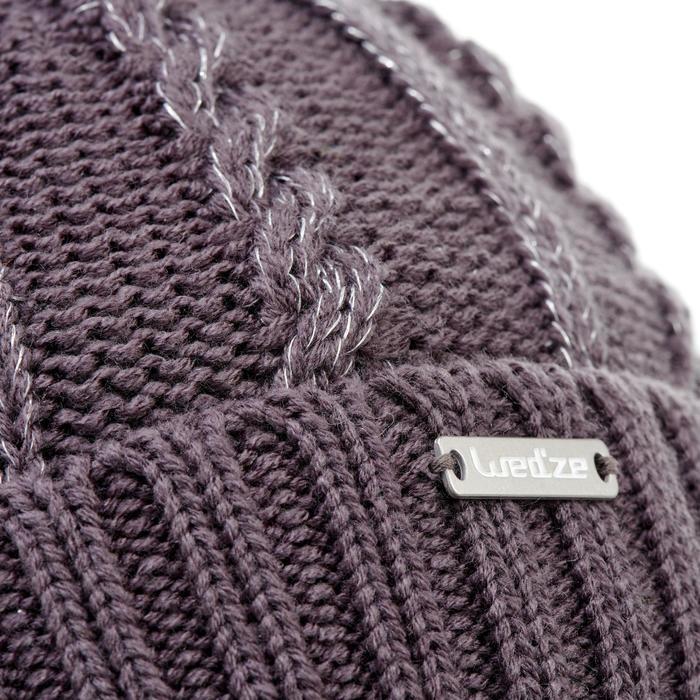 Skimuts voor kinderen kabelbrei Fur paars