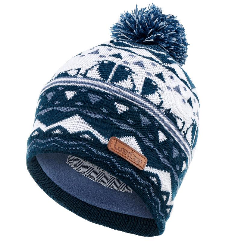 หมวกสกีผ้าแจ็คการ์ดสำหรับเด็ก (สีกรมท่า)