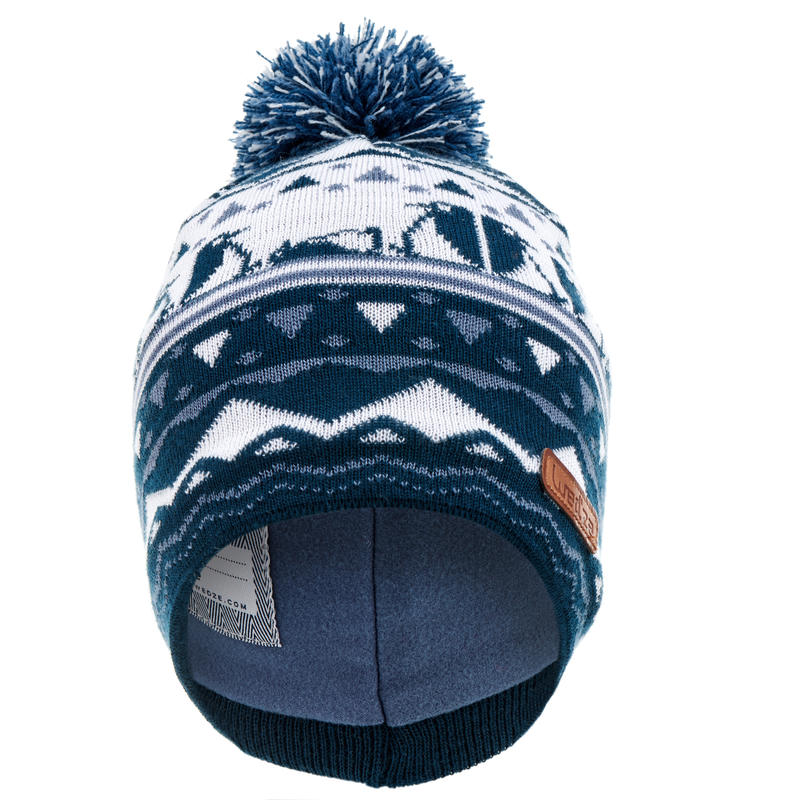 KID'S JACQUARD SKIING HAT NAVY