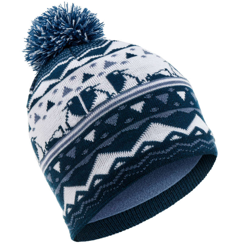 JUNIOR SKI AND SNOWBOARD HEADWEAR Ski Wear - KID'S JACQUARD HAT NAVY WEDZE - Ski Wear