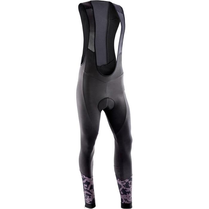 Lange MTB-broek met bretels heren ST 500 zwart