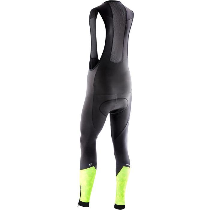 Lange MTB-broek met bretels heren ST 500 zwart en geel