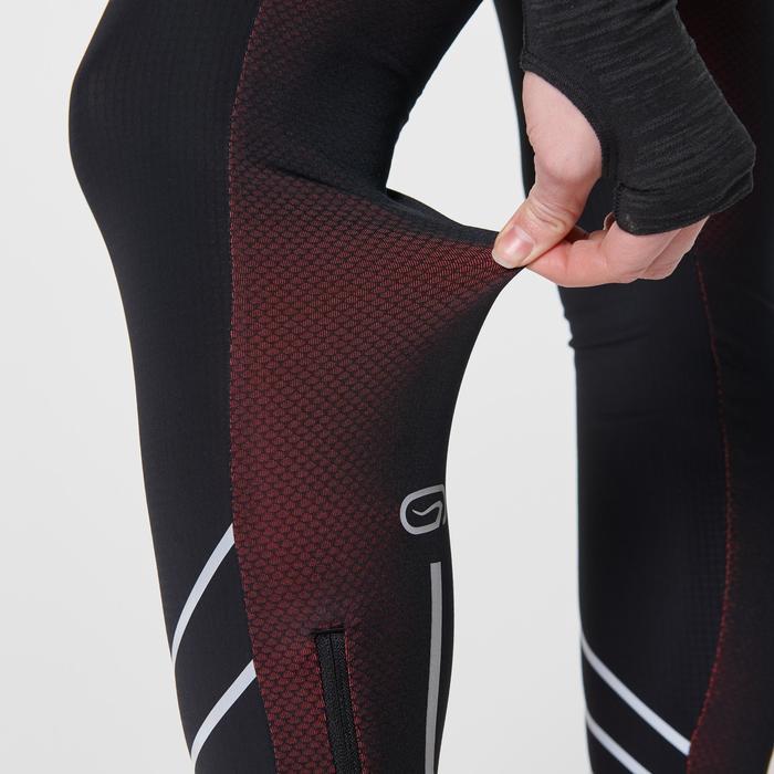 女款跑步緊身褲KIPRUN WARM - 黑色