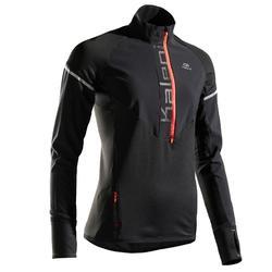 女款跑步運動長袖上衣KIPRUN WARM REGUL黑色/珊瑚紅