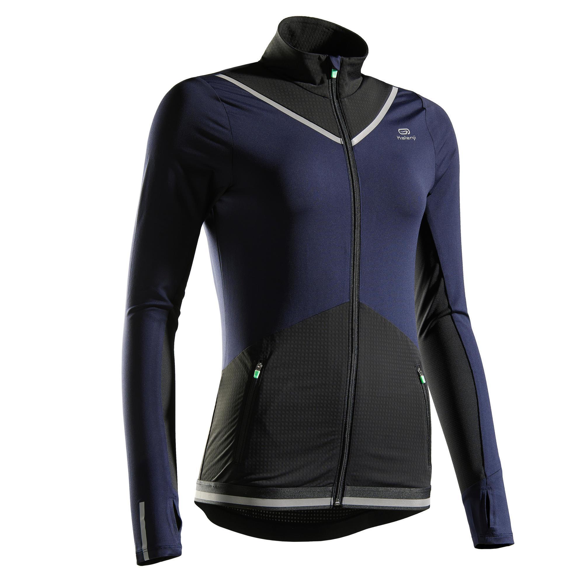 Laufjacke Kiprun Warm Damen marineblau | Sportbekleidung > Sportjacken > Laufjacken | Blau - Schwarz | Kalenji