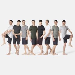 T-shirt voor pilates/lichte gym heren 500 slim fit gemêleerd donkergrijs