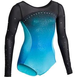 Gymnastikanzug Turnanzug langarm 900 Damen blau/türkis