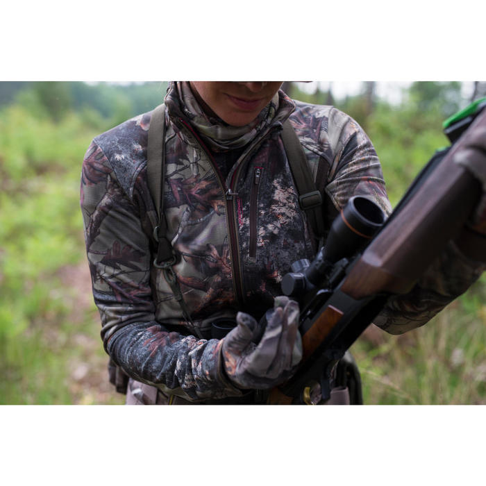 Geluidloze warme ademende camouflagejas voor de jacht dames 500