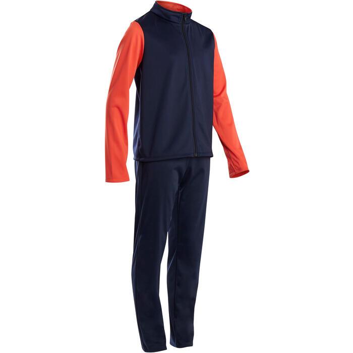 Warm trainingspak voor jongens GYM'Y S500 synthetisch/ademend marineblauw/rood