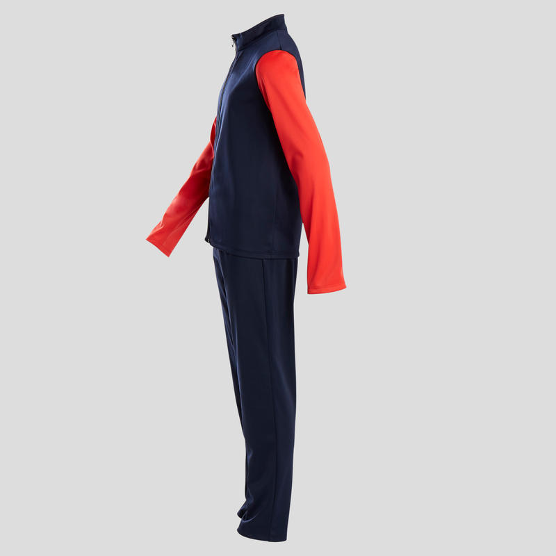 S500 Gym'y Boys' Warm Breathable Synthetic Gym Tracksuit - Navy Blue/Red