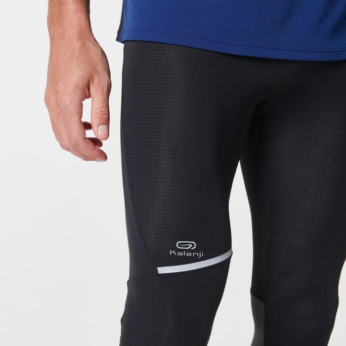 男款跑步緊身褲KIPRUN WARM - 黑色