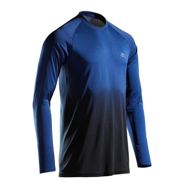 KIPRUN CARE MEN'S RUNNING BREATHABLE LONG-SLEEVED T-SHIRT - BLUE/BLACK