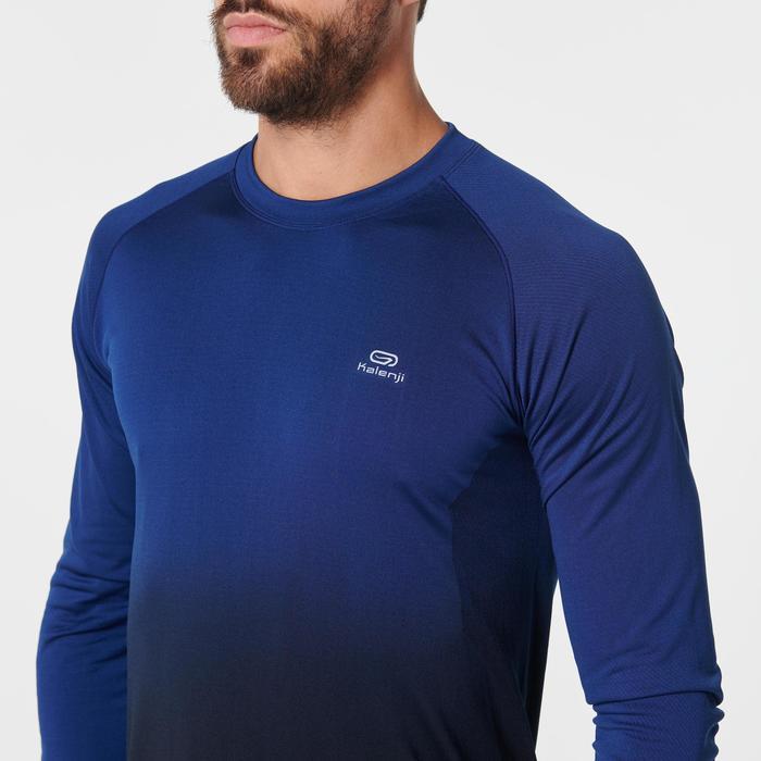 Ademend hardloopshirt met lange mouwen voor heren Kiprun Care blauw/zwart