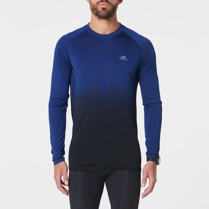 MEN'S RUNNING LONG-SLEEVED T-SHIRT KIPRUN CARE - BLUE BLACK