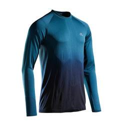 KIPRUN CARE MEN'S BREATHABLE LONG-SLEEVED RUNNING T-SHIRT - GREEN/BLACK
