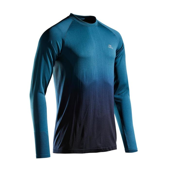 KIPRUN CARE MEN'S BREATHABLE LONG-SLEEVED RUNNING T-SHIRT - GREEN/BLACK
