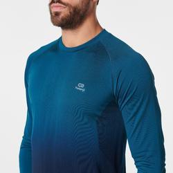 Hardloopshirt met lange mouwen voor heren Kiprun Care groen/zwart