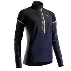 Hardloopshirt met lange mouwen voor dames Kiprun Warm blauw/groen