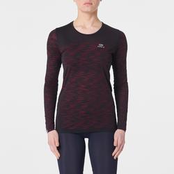 Hardloopshirt met lange mouwen voor dames Kiprun Care zwart/roze