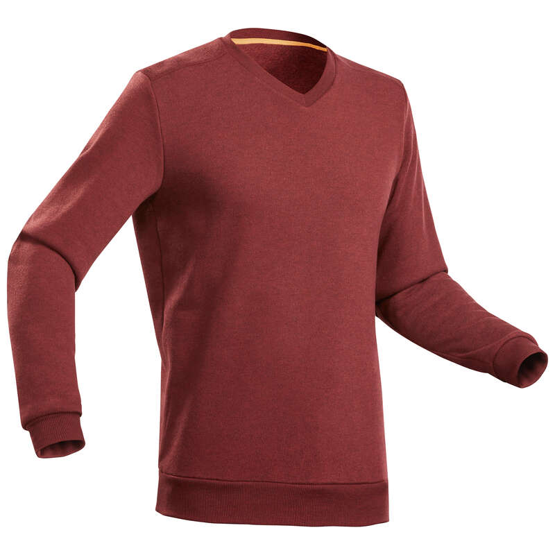 MEN NATURE HIKING JUMPERS/HOODIES Hiking - Men's Pullover NH150 - Maroon QUECHUA - Hiking Clothes