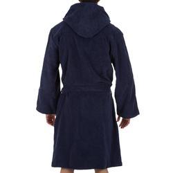 Katoenen herenbadjas waterpolo 500 capuchon, zakken en bindceintuur donkerblauw