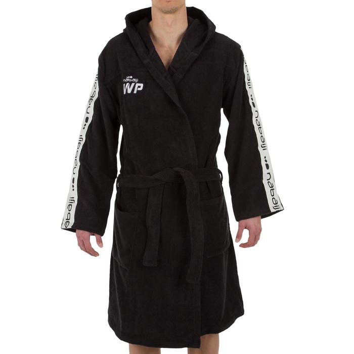 Katoenen herenbadjas waterpolo 500 met capuchon, zakken en bindceintuur zwart