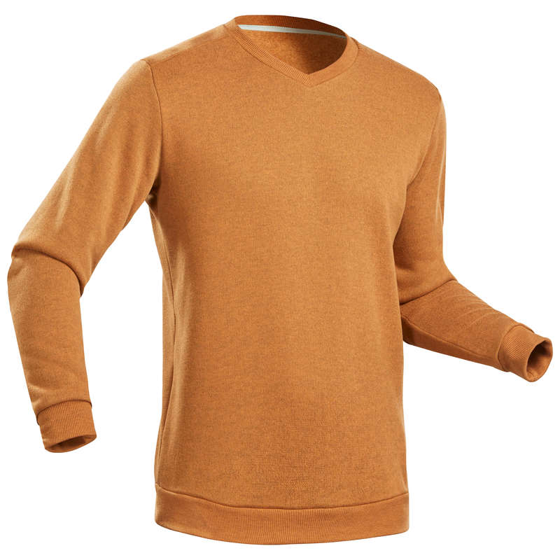 MEN NATURE HIKING JUMPERS/HOODIES Hiking - Men's Pullover NH150-Ochre Brn QUECHUA - Hiking Clothes
