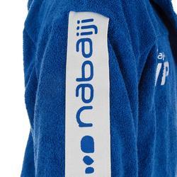 Bademantel 500 Wasserball Baumwolle mit Gürtel Taschen Kapuze Herren blau