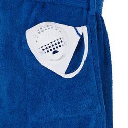 Albornoz Piscina Natación Nabaiji Hombre Azul Capucha Cinturón Algodón