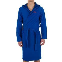 Bademantel Baumwolle leicht Gürtel Taschen Kapuze Herren hellblau