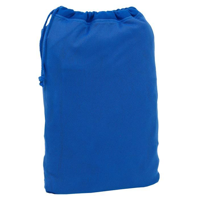 Lichte katoenen herenbadjas met capuchon, zakken en bindceintuur lichtblauw