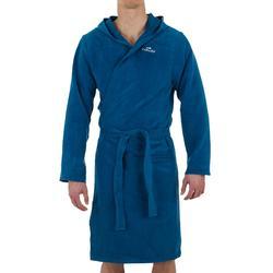 Peignoir homme bleu compact et microfibre avec capuche, poches et ceinture