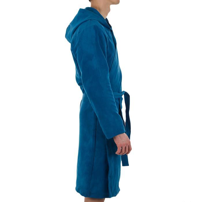 Compacte microvezel herenbadjas met capuchon, zakken en bindceintuur blauw