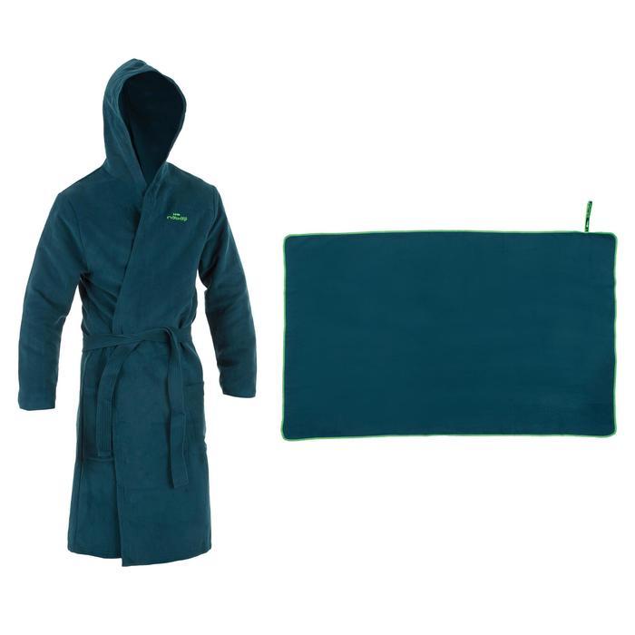 Set Bademantel und Mikrofaser-Badetuch L 80 × 130cm Herren grün