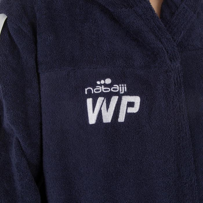 Bademantel 500 Wasserball Baumwolle mit Kapuze Taschen Gürtel Damen dunkelblau