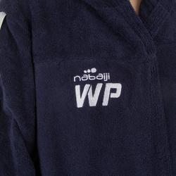 Katoenen damesbadjas waterpolo 500 capuchon, zakken en bindceintuur donkerblauw