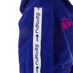 Peignoir 500 water polo femme coton épais violet avec capuche, poche et ceinture