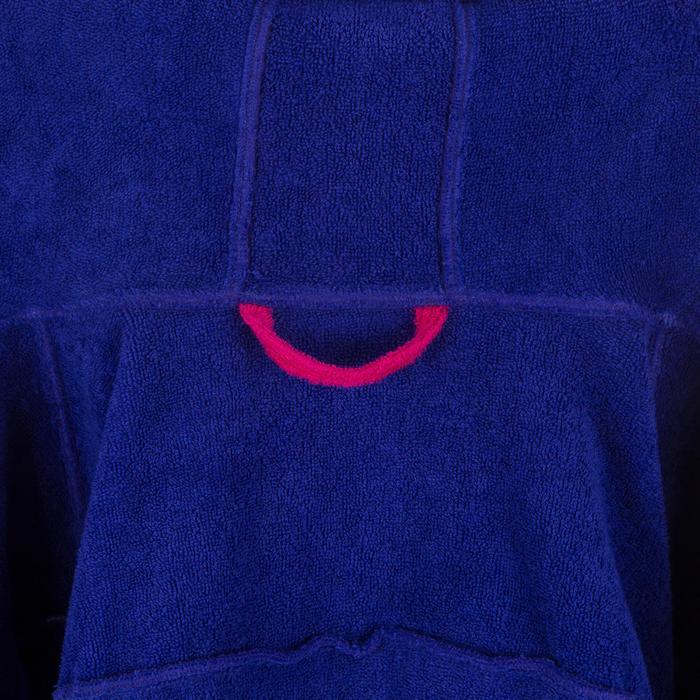 Katoenen damesbadjas waterpolo 500 capuchon, zak en bindceintuur paars
