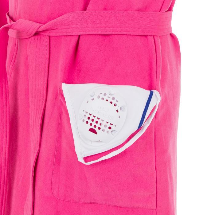 Peignoir de bain à capuche microfibre compact femme rose