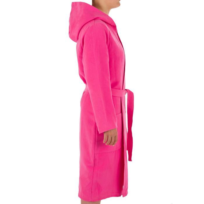 Compacte microvezel damesbadjas met capuchon, zakken en bindceintuur roze