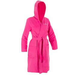 Albornoz compacto de microfibra rosa mujer con capucha, bolsillos y cinturón