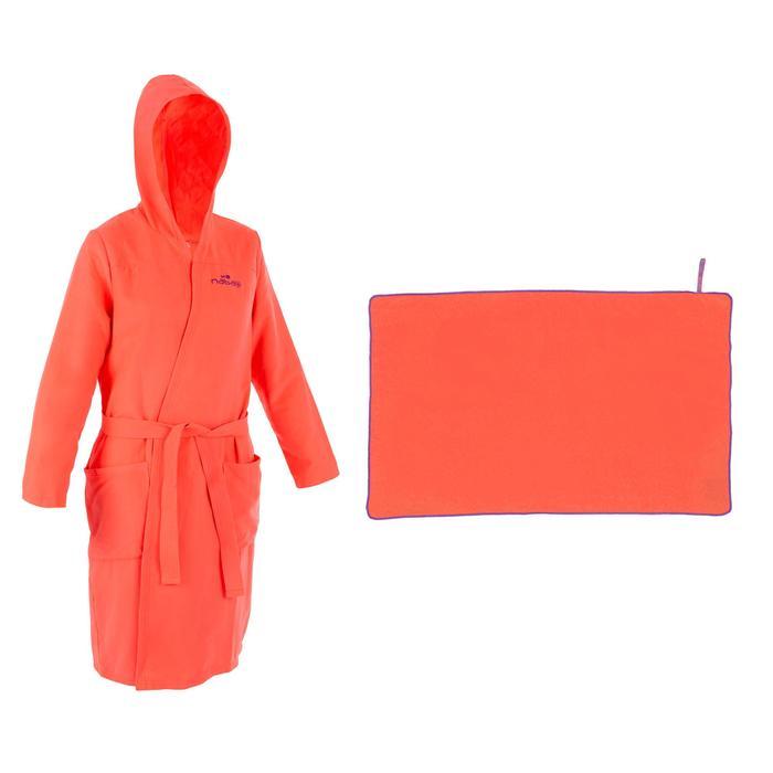 Pack de albornoz y toalla de microfibra, talla L (80 x 130cm) rosa mujer