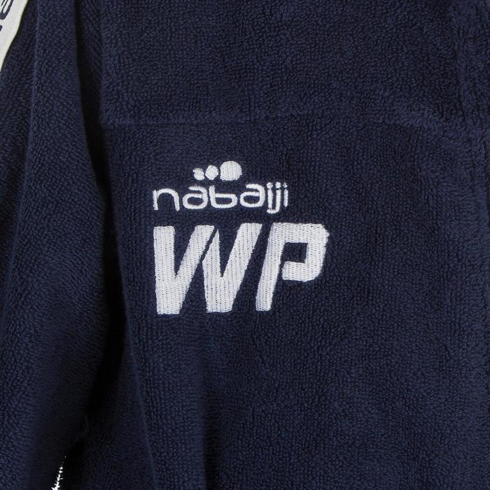 Albornoz Waterpolo 500 Niño Azul Oscuro Algodón Grueso Capucha Bolsillo Cinturón