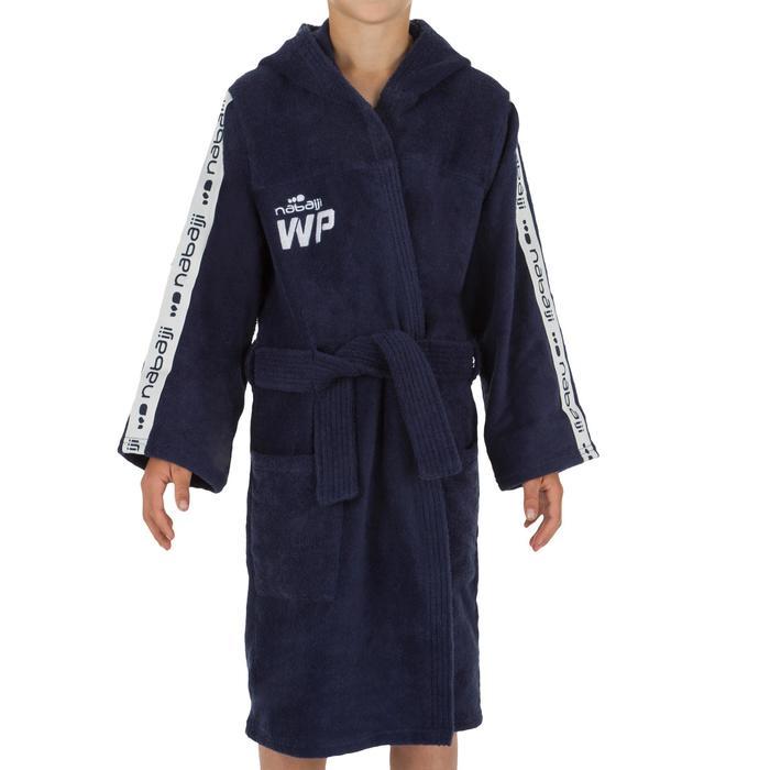 Katoenen kinderbadjas WP 500 met capuchon, zakken en bindceintuur donkerblauw