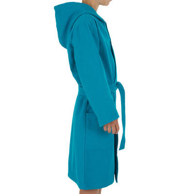 Kids' Lightweight Cotton Pool Bathrobe with Hood, Pocket and Belt - Turquoise